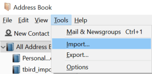 Import Menu Item in Thunderbird Address Book