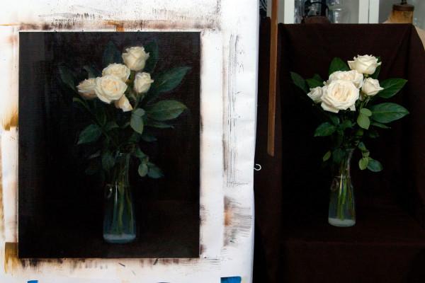 rose oil painting, studio shot by Kate Sammons