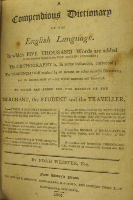 Title page of A Compendious Dictionary of the English Language