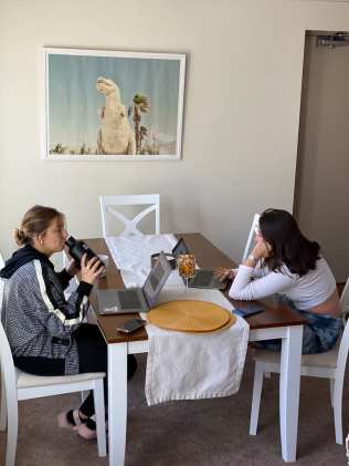 Emma Flaherty and Erica Kagan study together for their exam on Sept. 20 in Bethlehem, PA. They are studying for their first exam of the semester.