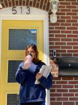 May Naish sips her water outside her front door on Sept. 20 in Bethlehem, PA. She is enjoying living off campus for the first time.