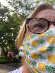 Therese Bonfiglio and her homemade face mask Sunday September 27, 2020, in Weekapaug, R.I. Therese and her friends have been sewing printed masks and donating their profits to a local homeless shelter. (Bonfiglio, J24)