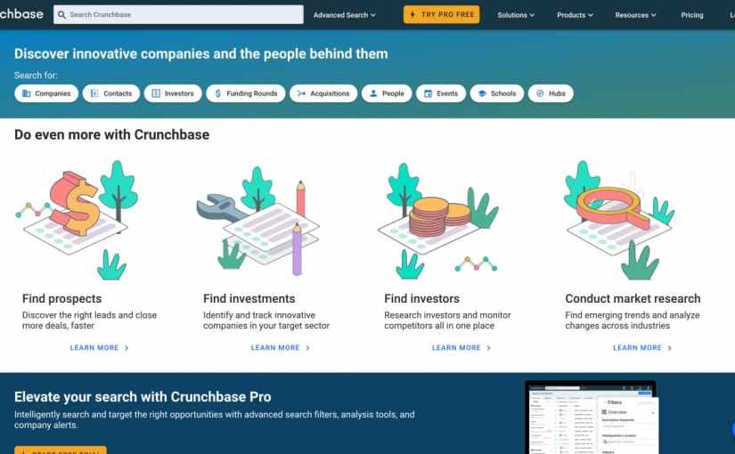 查詢各間新創公司的訊息 – crunchbase