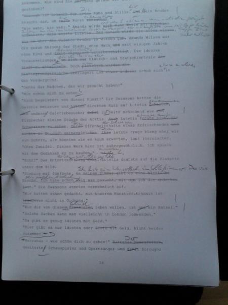 Manuskriptseite - Überarbeitung