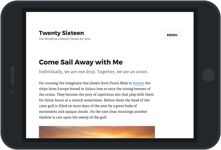 screenshot of twenty sixteen WordPress theme