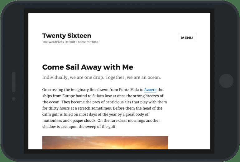 A screenshot of Twenty Sixteen set in an iPad frame