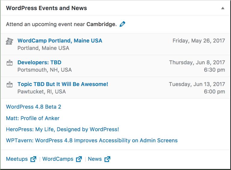 WordPress események