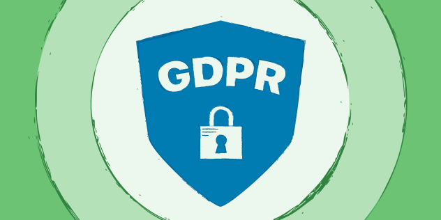 """A decorative header featuring the text """"GDPR"""" and a lock inside of a blue shield, on multicolor green background."""