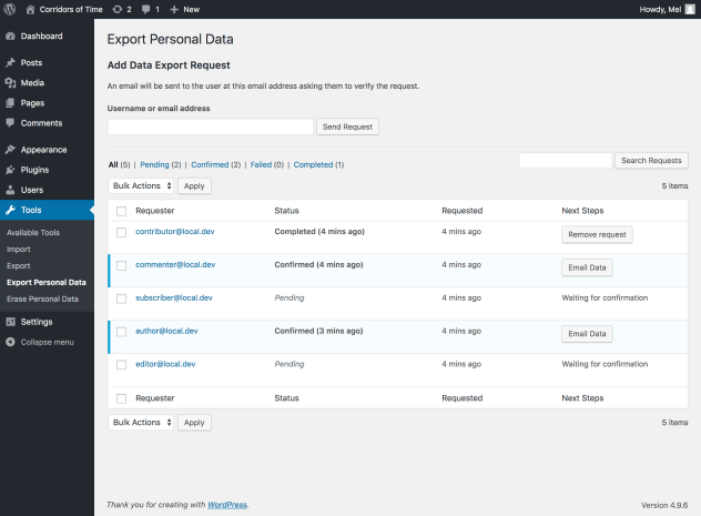 A screenshot of the new Export Personal Data tools page. Several export requests are listed on the page, to demonstrate how the new feature will work.