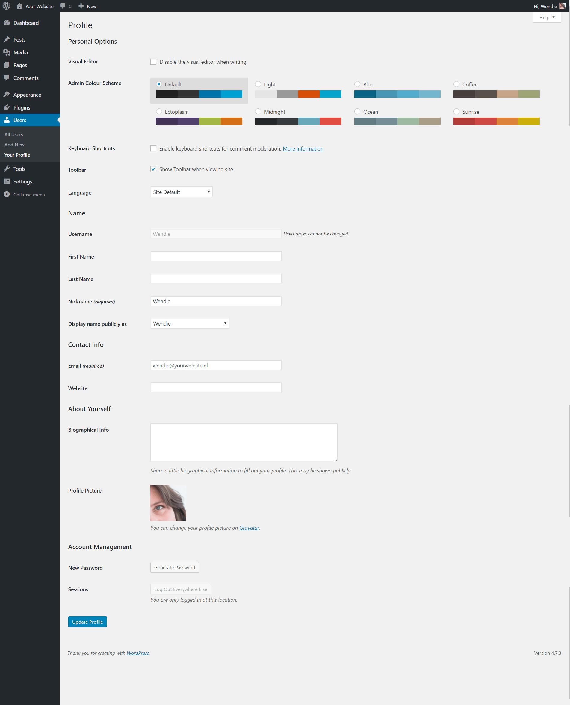 Profile ‹ Your Website — WordPress