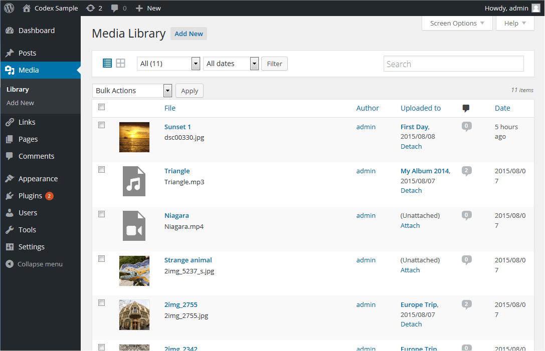 Media Library Screen | WordPress.org