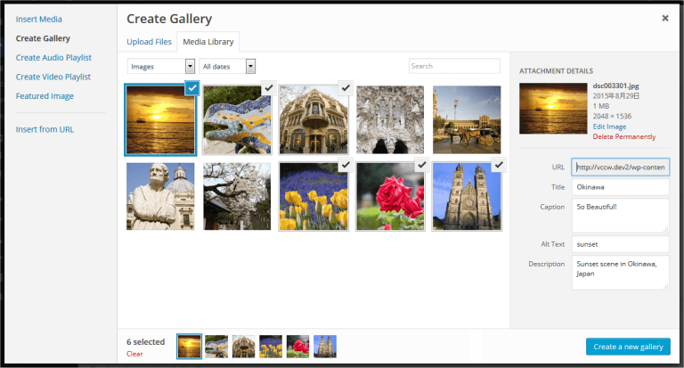 Media Library selecting images to appear in gallery