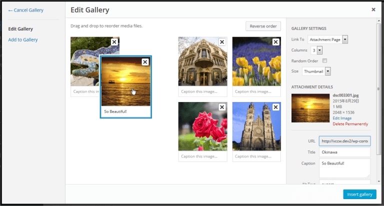 Dragging images in Media Library to organize gallery