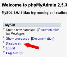 phpMyAdmin MySQL Databases link