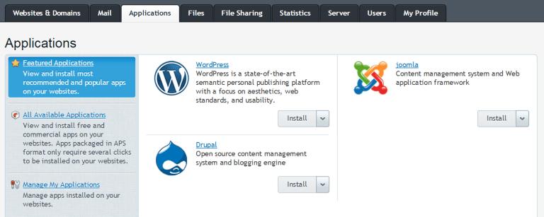 APS Plesk Install WordPress