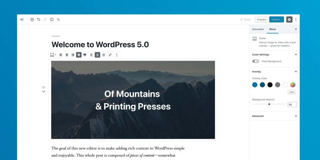 Published WordPress Page Preview