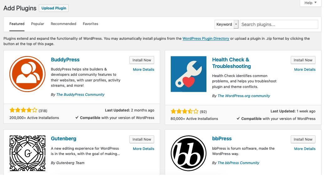 Plugins Add New Screen Wordpress Org