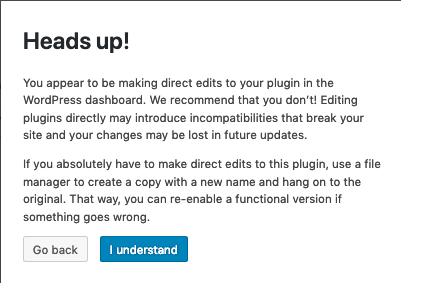Plugins Editor Screen | WordPress org