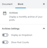 Archives settings options for dropdown and post count.