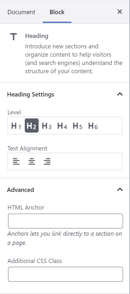 Block styles can be set from the block options panel.