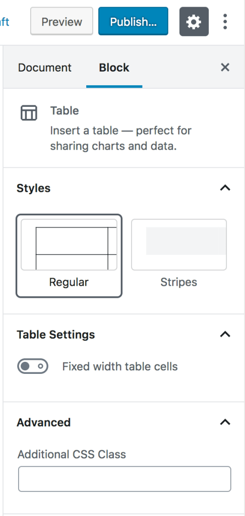 Table Block Settings