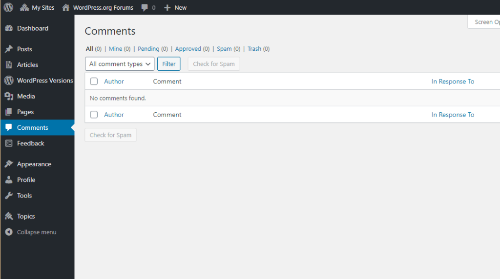 Comments dashboard