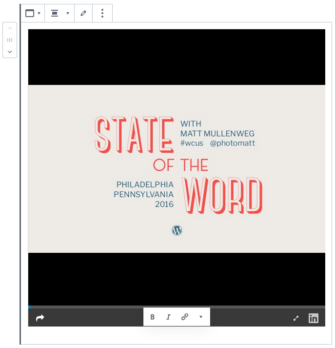 example of block toolbar with the slideshare embed