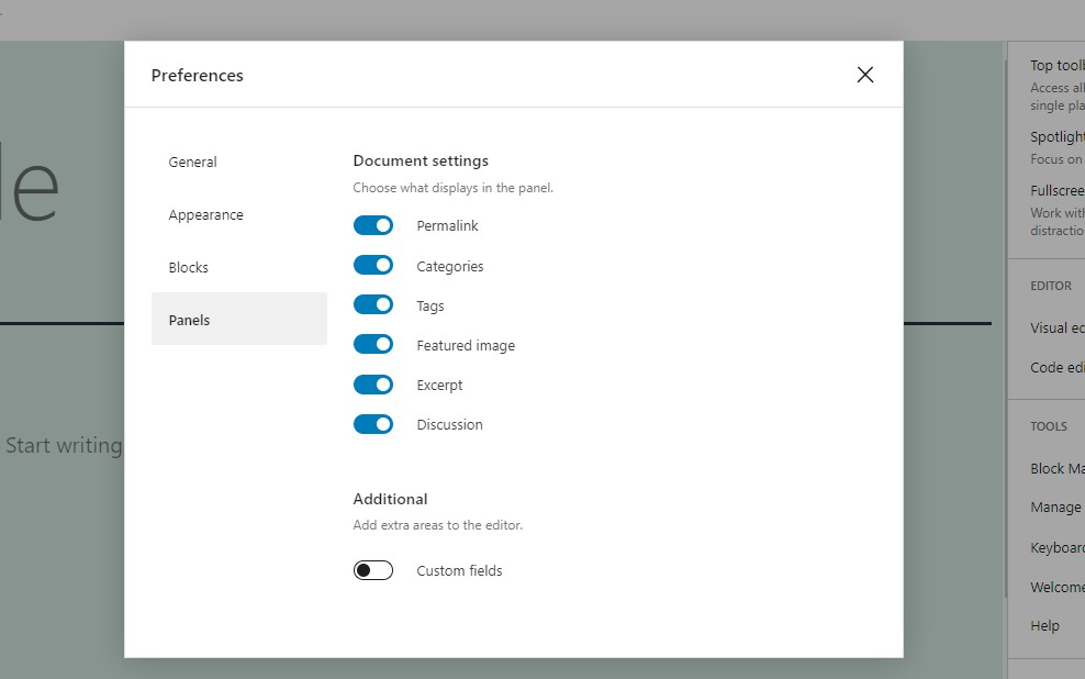 Preferences -> Panels in WP Editor
