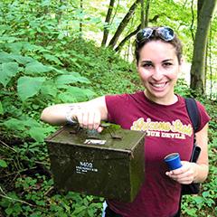 Lia with an ammobox cache