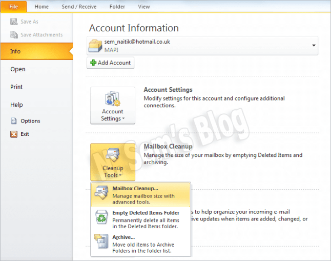 mailbox cleanup in Outlook 2010