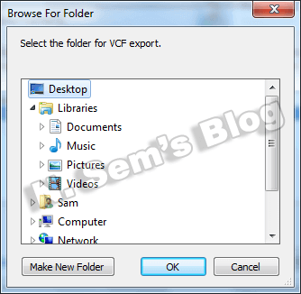export contacts to VCF (step-3)