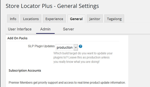 Production or pre-release settings, subscriptions