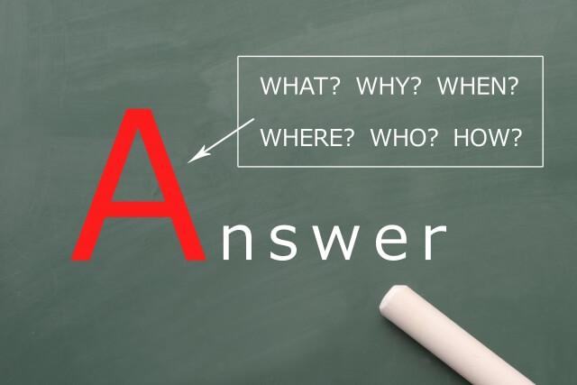 黒板に記された英語,「Answer」「WHAT?」「WHY?」「WHEN?」「WHERE?」「WHO?」「HOW?」