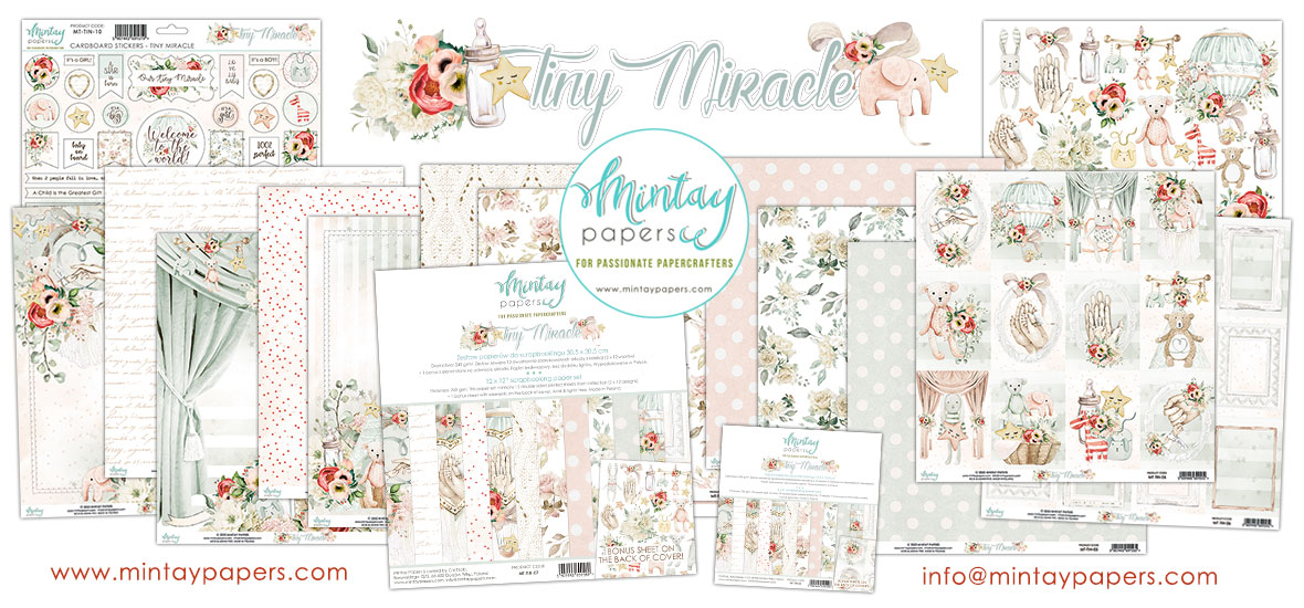 """Mintay Tiny Miracle 12/"""" x 12/"""" Scrapbooking Paper,Baby,Nursery Paper New!"""