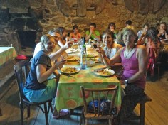 A communal meal in an albergue.