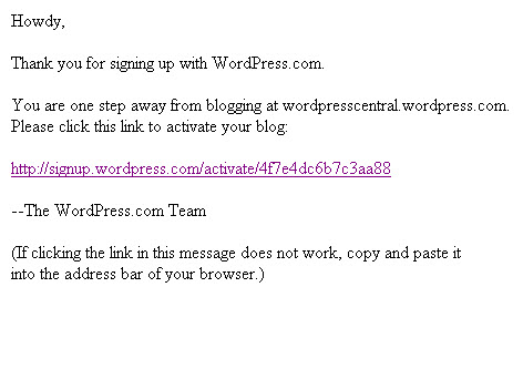 Email confirm for wordpress free blog