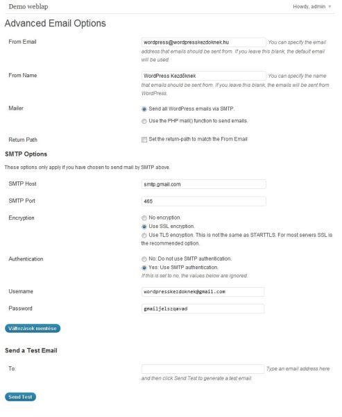 GMail SMTP használata a WordPress alatt