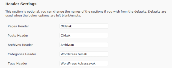 Az oldaltérképen megjelenő nevek