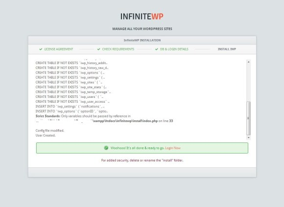 InfiniteWP sikeres telepítése
