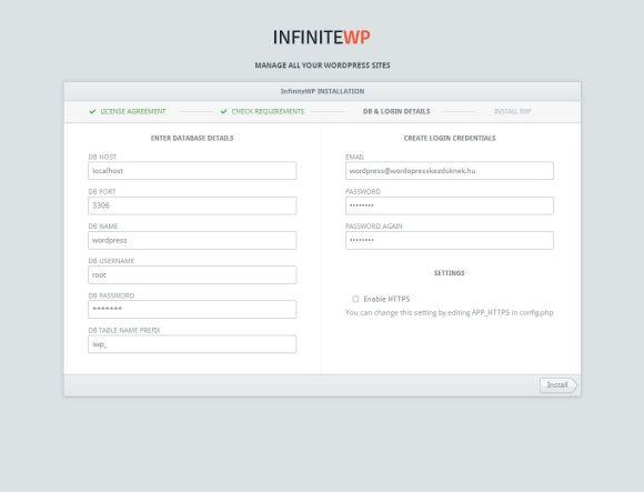 InfiniteWP telepítési adatok megadása