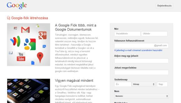 Google Drive regisztráció