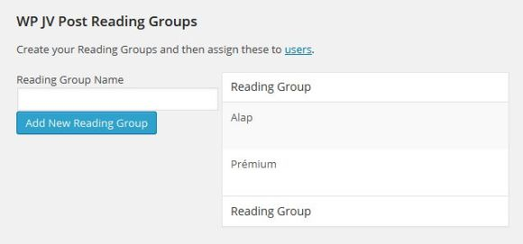 WP JV Post Reading Groups
