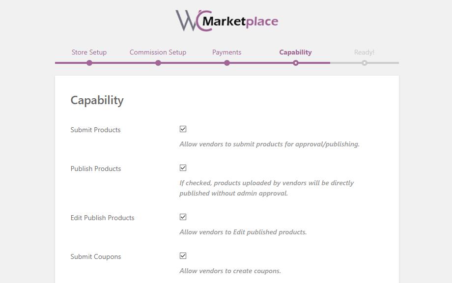 woocommerce wc marketplace capability setup