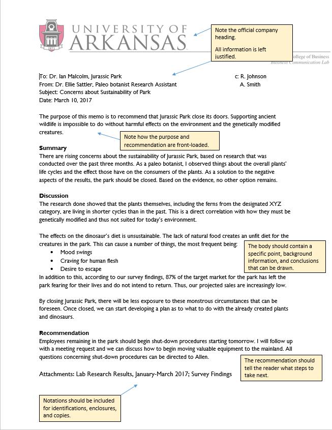 company memo format