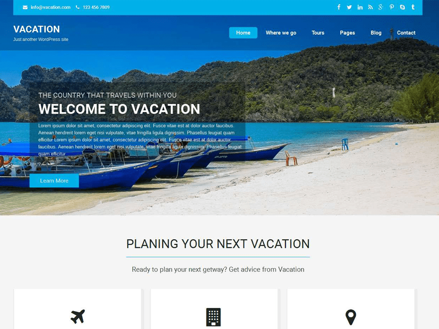 Vacation Lite WordPress Theme