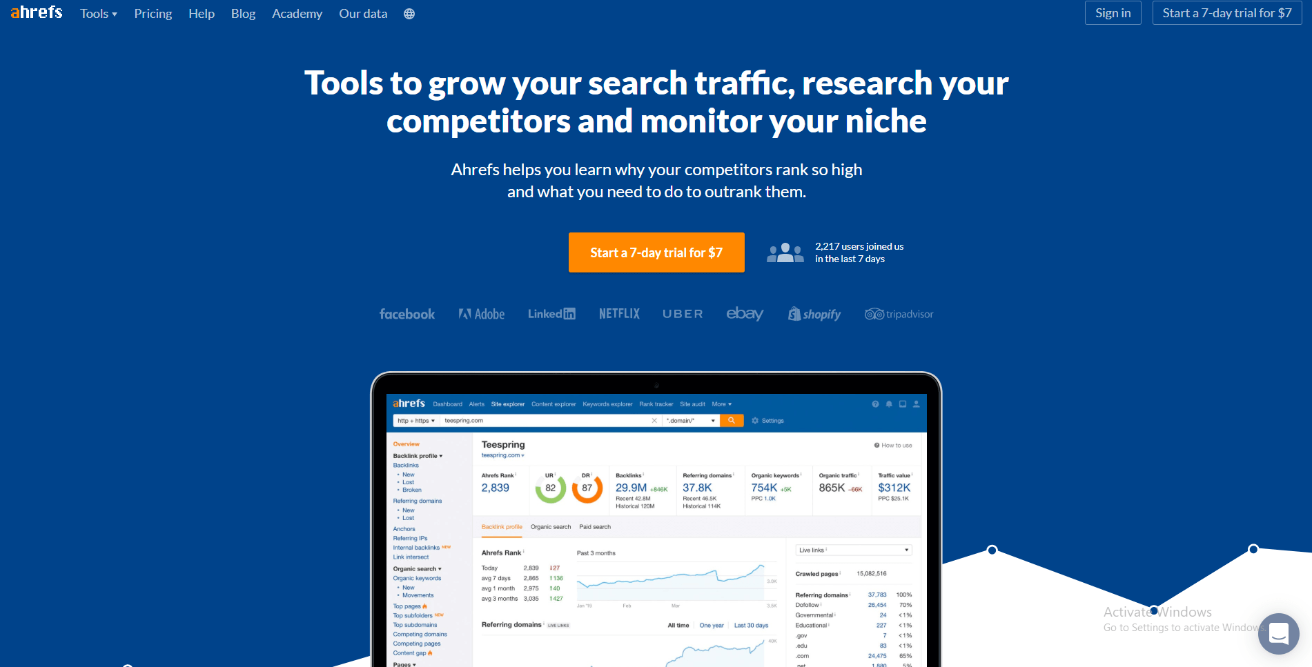 Ahrefs - Traffic Analysis Tools