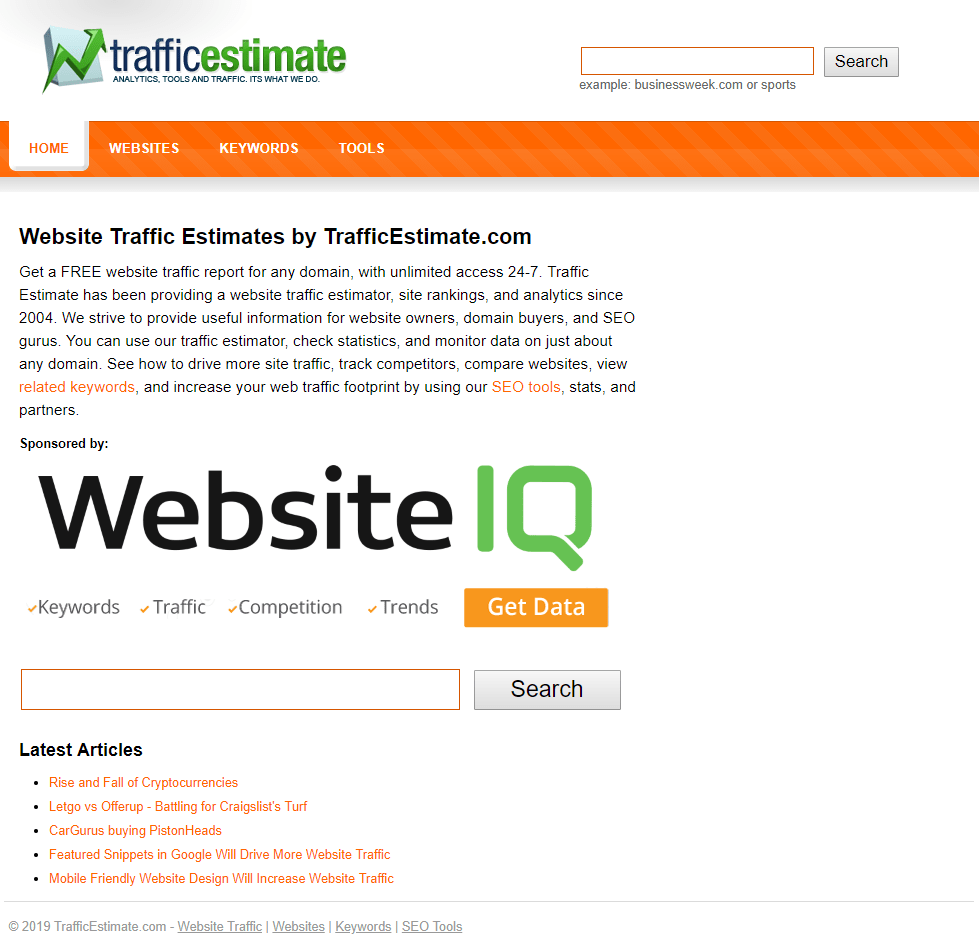 Traffic Estimate tool