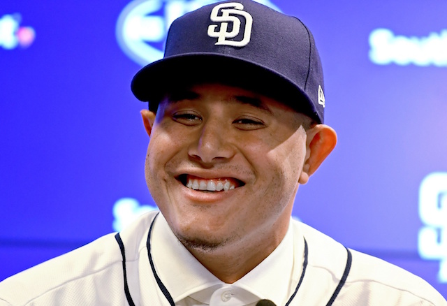 Manny Machado at his initial San Diego Padres press conference.