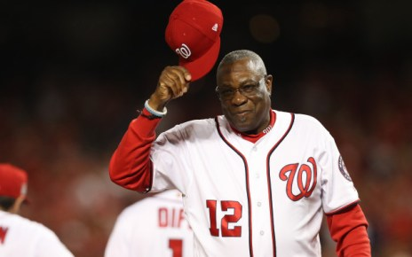 Dusty Baker tips his cap with the Washington Nationals.