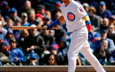 Willson Contreras eyes a ball out of the batter's box.